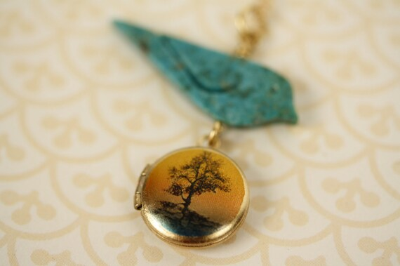 Miniature Autumn Tree Locket Necklace and Turquoise Bird on 14kt Gold Filled Chain, Fashion Image Jewelry, Jewellery for Women