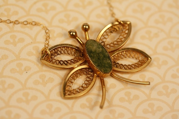 Filigree Butterfly Necklace with Green Jade on 14kt Gold Filled Chain - Upcycled Vintage