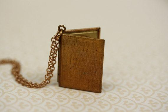Linen Textured Book Locket Pendant, Unique Necklace, Long Chain, 1970s Vintage Jewelry, Raw Brass, Copper Hue, Photo Locket, Bronze Tone