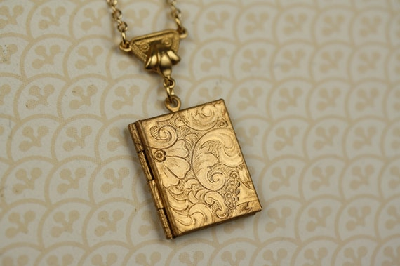 Gold Book Necklace, Floral Book Locket Paisley Necklace, Art Nouveau Locket, Photo Picture Locket, Flower Pendant Long Jewelry