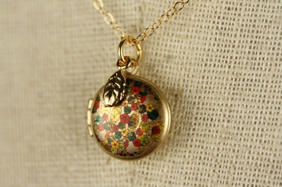 Miniature Colorful Flowers Locket with Small Gold Leaf, Little Floral Pendant Necklace, 14kt Gold Filled Chain, Green Leaves, Photo Jewelry