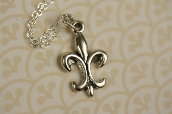 Fleur De Lis Pendant Necklace, Sterling Silver, Small French Flower Jewelry, Miniature Lily Charm, France
