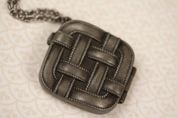 Rare Pewter Thatched Locket Necklace, Long Silver Chain, Basketweave Pendant Jewelry, Upcycled Perfume Carrier, Gunmetal Tone