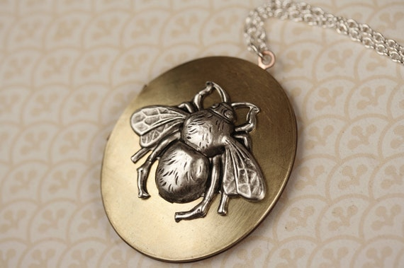 Long Silver BumbleBee Locket Necklace, Vintage Copper, Large Jewelry, Brass Metal, Oval Bee Pendant, Unique Two Tone Jewellery
