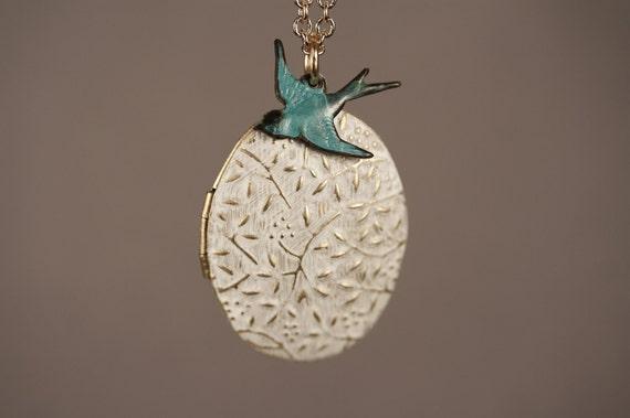 Blue Bird Necklace Vines White Locket, White Jewelry, Boho Locket Long, Blue Oval Locket, Floral Locket White Pendant, Long Chain Necklace