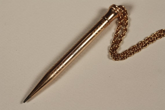 Engraved Betty Mechanical Pencil Necklace with Chevron Pattern, Long Vintage Rope Chain, Gold Filled, Joan from Mad Men, Wahl Eversharp