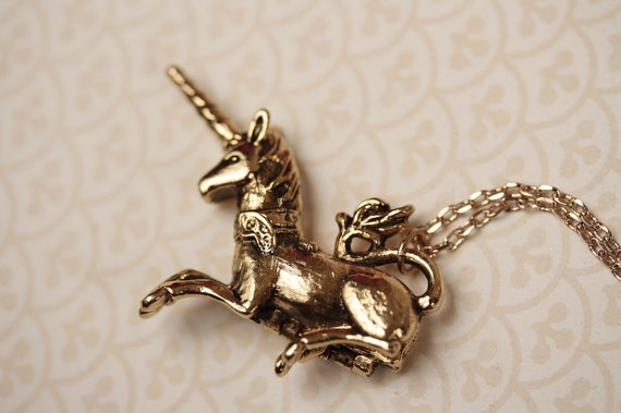 Vintage Gold Unicorn Locket Necklace, Unique Pendant, Hidden Carrier, Fantasy Horse, Long Chain