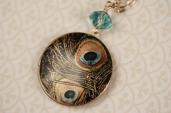 SALE - Long Peacock Feather Locket Necklace with Aqua Blue Glass, Large Bird Pendant, Gold Chain, Turquoise, Photo Image Jewelry, Beaded