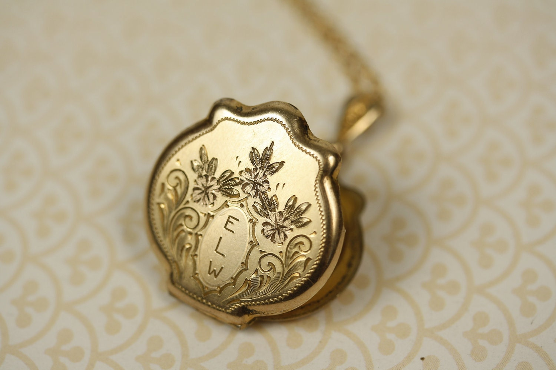 E L W Monogram Locket 14kt Gold Filled Photo Frames Rose