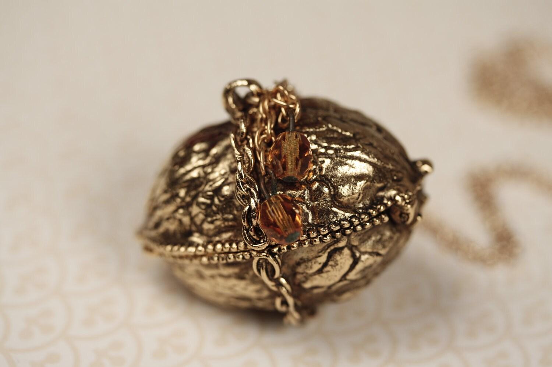 Gold Walnut Locket Necklace Long Gold Chain Vintage Gold
