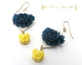 SALE Xtra 30% Off Navy Blue and Yellow Earings