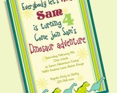 12 Printed Dinosaur Boy Birthday Party Invitations 5x7 Green Blue Red and Brown