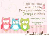 Mod Owl Birthday Invitation, Printable, for Girls Birthday Party in pink and green and blue, DIY