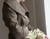 Upcycled woman's clothing Brown jacket in checked Eco friendly style Reconstructed jacket Spring fashion Big colar
