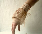 Beige romantic bridal cuff, bracelet with embroidery flowers upcycled woman's clothing upcycled accessories beige handmade wedding