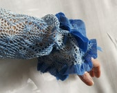 Upcycled Woman's Clothing Openwork Arm Warmers in Shades of Blue Spring Fashion