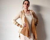Upcycled Clothing Vest and Arm Warmers Recycled Sweater Ivory Brown Asymmetrical Vest Winter Fashion Upcycled Woman's Clothing