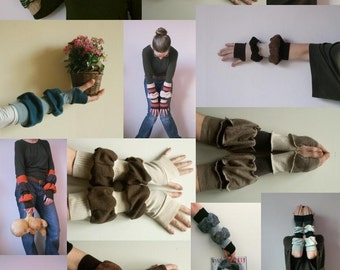 12 Gloves Mittens Fingerless Wholesale Ruffled Arm Warmers Upcycled SweatersQuantity