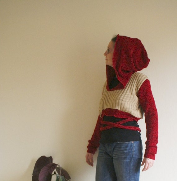 Upcycled Woman's Top Hoodie Red Beige Long Sleeves Belt Big Hood Upcycled Clothing Eco Friendly Style Autumn Fall Winter Fashion