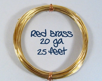 20ga 25ft DS Red Brass Wire