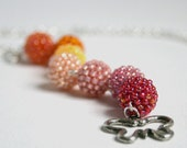 Juicy Strawberry and Orange Beaded Beads Necklace
