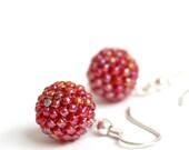 Juicy Strawberry Beaded Beads Earrings