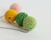 Sunflower Beaded Beads Necklace. Green, blush and Yellow