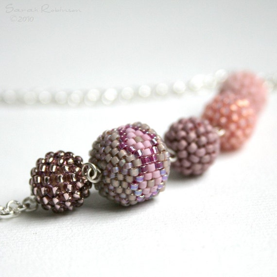 Sweet Pinks Beaded Beads with Milde Necklace