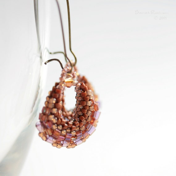 Beadwork Earrings Sweet Earth Brown Hoops