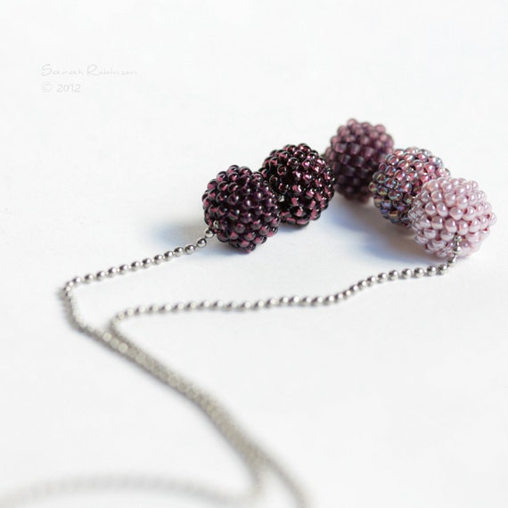 Purple Necklace Flattened Beaded Beads