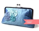 Angela clutch in blue dupioni silk with funky yo yo rosettes