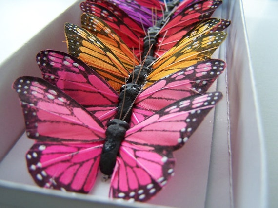 12 Feather Butterflies for Hair Pins, Favors, Wedding Cake