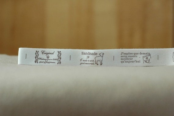 Stamps, Handmade, Post Stamps and French Wording Fabric Labels