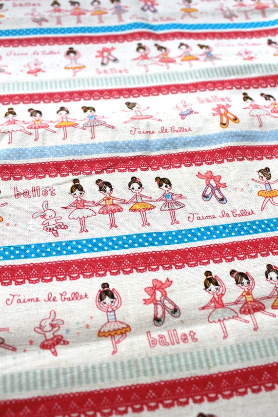 Cotton Linen Blend Fabric - Pink and Blue Cute Little Ballerinas 70cm X 50cm