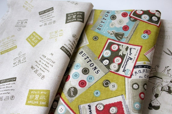Cotton Linen Fabric 5 designs in 1  -  Sewing Themed Half metre Green