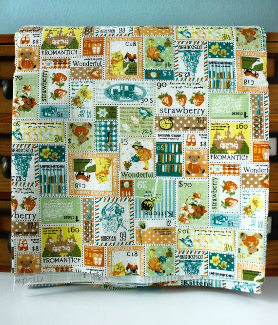 Cotton Linen Blend Fabric -  Stamps Green, Orange and Yellow