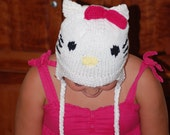 Hello Kitty Hat Teen Adult Child Hand Knit Bow Cat Ready to ship