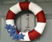 Yarn Wreath Handmade Front Door 4th of July - Stars and Stripes 14in