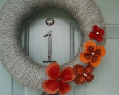 Yarn Wreath Felt Handmade Summer Door - Pretty Petals FALL 12in