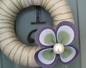 Yarn Wreath Felt Handmade Door Decoration - Large Flower 8in