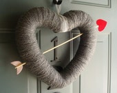 Cupids Arrow Handmade Front Door Yarn Wreath Valentines Day - 12in