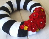 Wreath Felt Handmade Door Decoration - Technicolor 8in