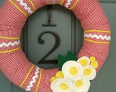 Yarn Wreath Felt Handmade Door Decoration - Picnic 12in