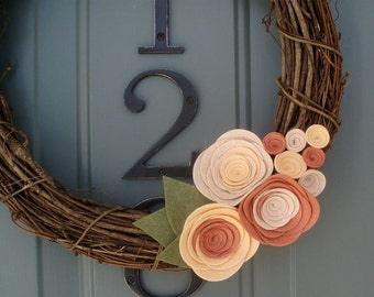 Grapevine Wreath Felt Handmade Door Decoration - Just Peachy 12in