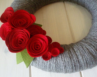 Yarn Wreath Felt Handmade Door Decoration - Classic Romance 12in