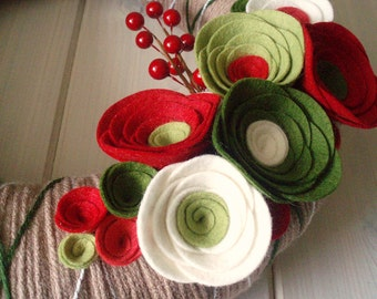 Yarn Wreath Felt Handmade Holiday Door Decoration - Holiday Special 12in