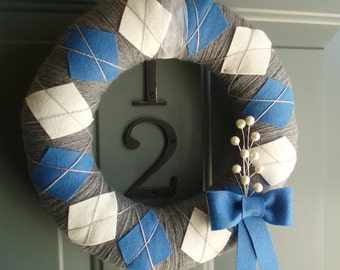 Yarn Wreath Felt Handmade Holiday Door - Hanukkah Argyle 12in