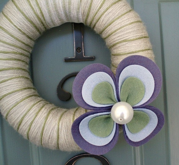 Yarn Wreath Felt Handmade Door Decoration - Large Flower 8in