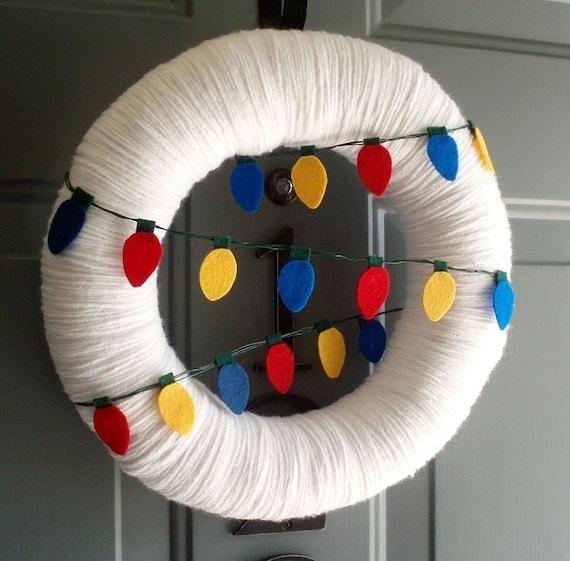 Yarn Wreath Felt Handmade Holiday Door - Light It UpChristmas 12in
