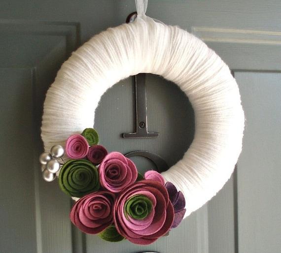 Yarn Wreath Felt Handmade Door Decoration - Violet Garden 8in